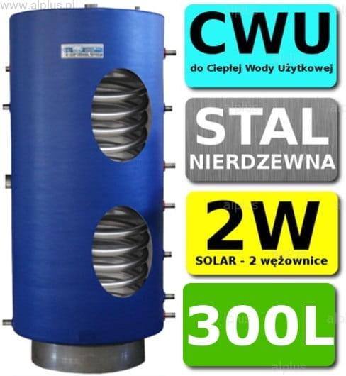 Aktualne CHEŁCHOWSKI 300L 2-wężownice Nierdzewka Solar, 2W Zbiornik KU25